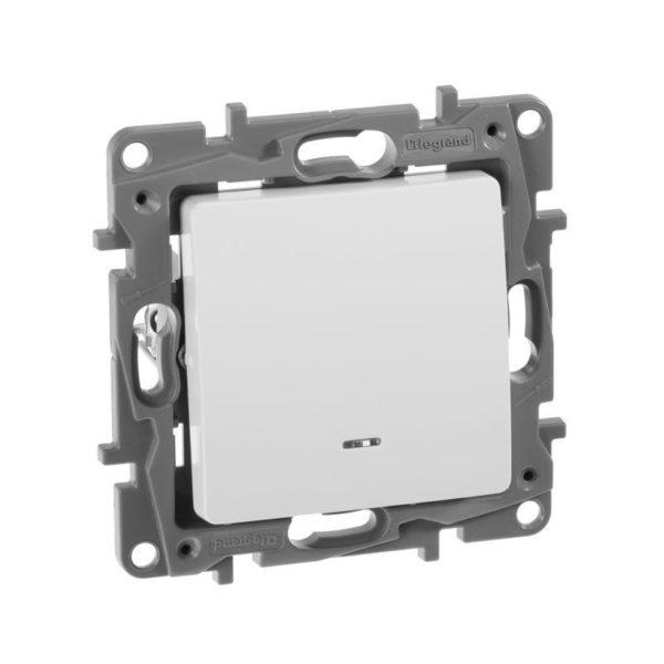 Механизм выключателя 1-кл. СП Etika 10АX с подсветкой / индикацией безвинт. зажимы бел. Leg 672203