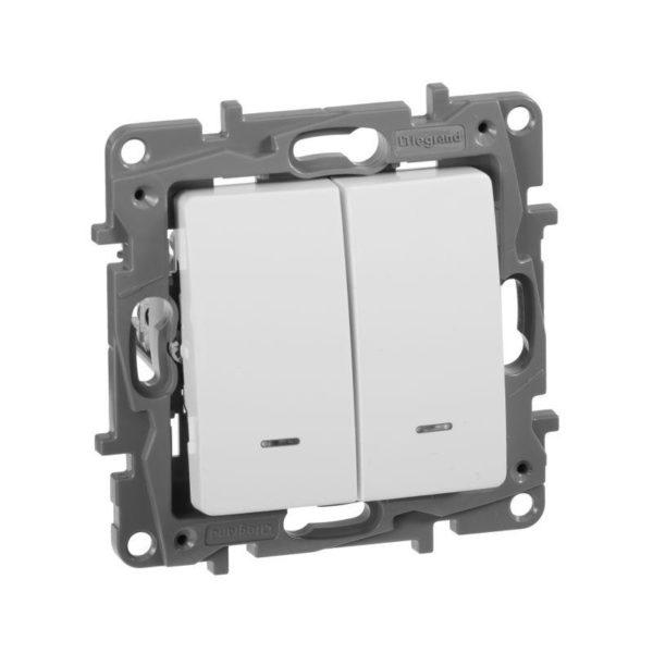 Механизм выключателя 2-кл. СП Etika 10АX с подсветкой / индикацией безвинт. зажимы бел. Leg 672204