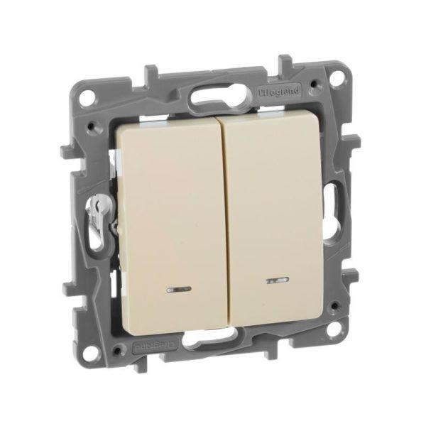 Механизм выключателя 2-кл. СП Etika 10АX с подсветкой / индикацией безвинт. зажимы сл. кость Leg 672