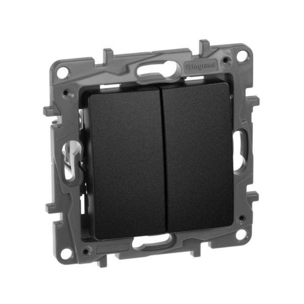 Механизм переключателя 2-кл. СП Etika Plus 10АX безвинт. зажимы антрацит Leg 672612