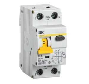 Выключатель автоматический дифференциального тока 2п (1P+N) C 25А 30мА тип A 6кА АВДТ-32 ИЭК MAD22-5