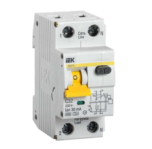 Выключатель автоматический дифференциального тока 2п (1P+N) C 32А 30мА тип A 6кА АВДТ-32 ИЭК MAD22-5