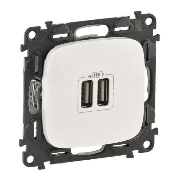 Устройство зарядное Valena Allure с 2-мя USB-разьемами 240В/5В 1500мА с лиц. панелью бел. Leg 754995