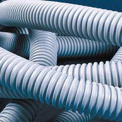 Труба гофрированная ПВХ d32мм тяжелая с протяж. сер. (уп.25м) DKC 91532