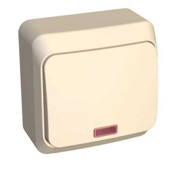 Выключатель 1-кл. ОП Этюд 10А IP20 с индик. крем. SchE BA10-005K