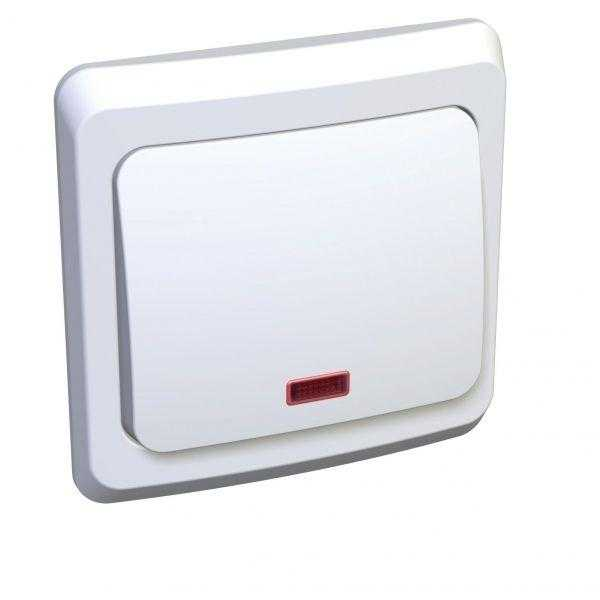 Выключатель 1-кл. СП Этюд 10А IP20 с индик. бел. SchE BC10-005B