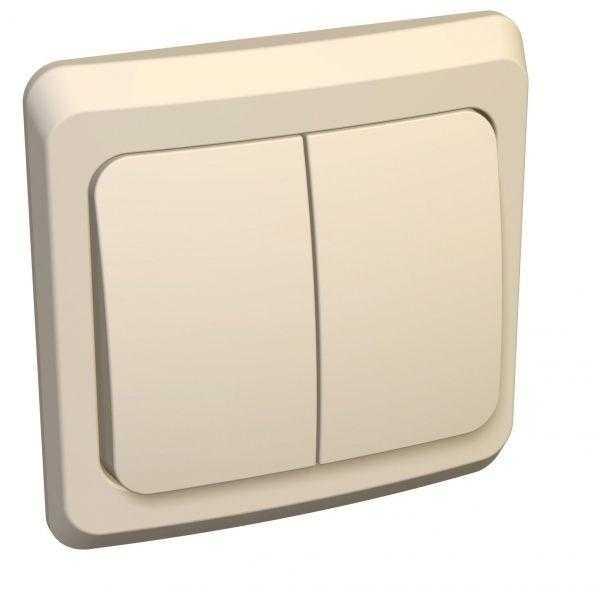 Выключатель 2-кл. СП Этюд 10А IP20 с индик. крем. SchE BC10-006K