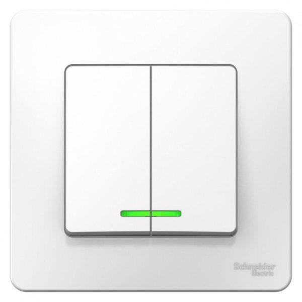 Выключатель 2-кл. СП BLANCA (сх.5) 10А 250В с подсветкой бел. SchE BLNVS010511