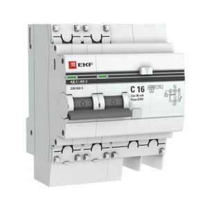 Выключатель авт. диф. тока 2п 4мод. C 16А 30мА тип AC 4.5кА АД-2 PROxima EKF DA2-16-30-pro