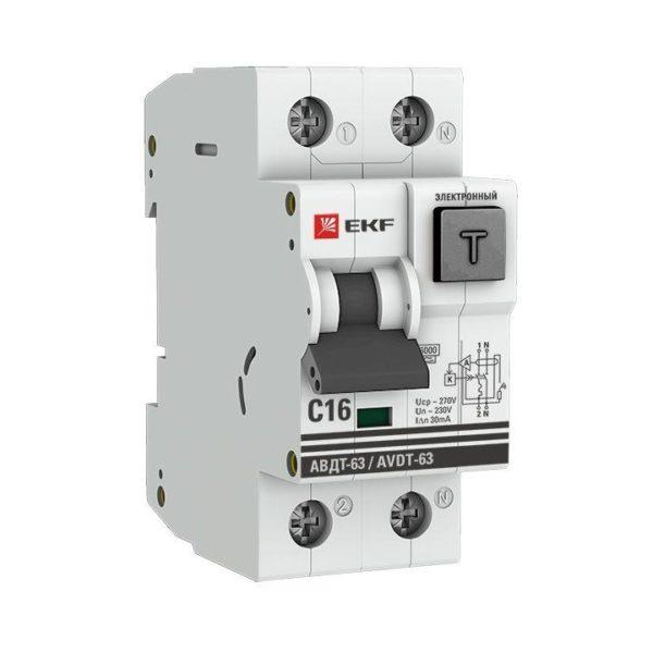 Выключатель автоматический дифференциального тока 1п+N 2мод. С 16А 30мА тип А 6кА АВДТ-63 (электрон.