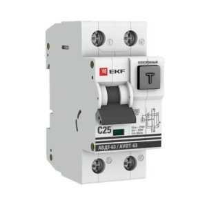 Выключатель автоматический дифференциального тока 1п+N 2мод. С 25А 30мА тип А 6кА АВДТ-63 (электрон.