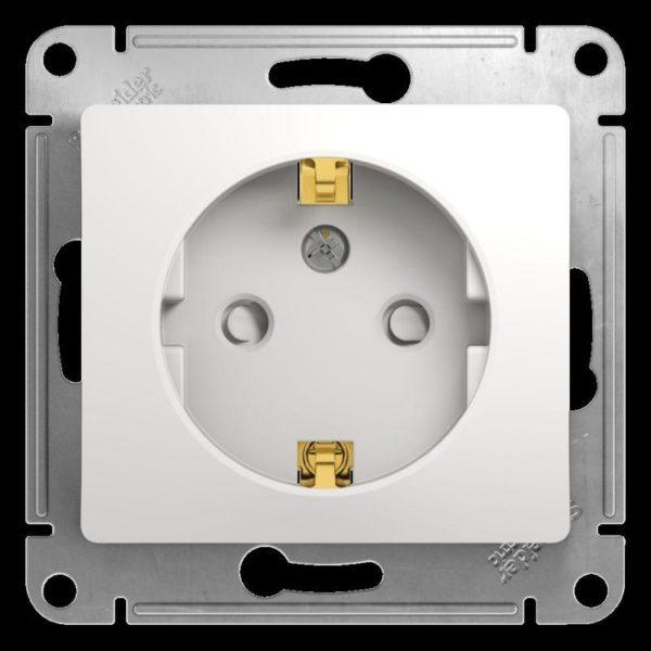 Механизм розетки 1-м СП Glossa 16А защ. шторки с заземл. бел. SchE GSL000145