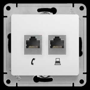 Механизм розетки комп. + телеф. 2-м СП Glossa RJ11 + RJ45 бел. SchE GSL000185