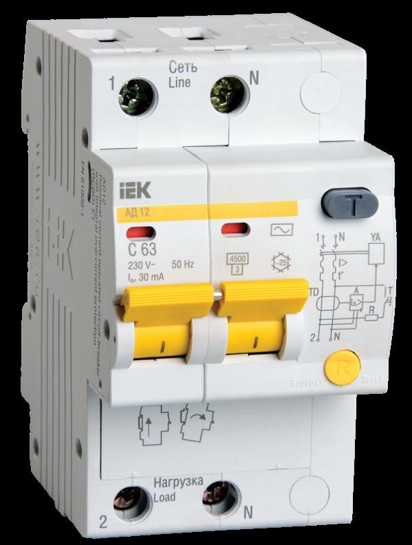 Выключатель автоматический дифференциального тока 2п C 10А 30мА тип AC 4.5кА АД-12 ИЭК MAD10-2-010-C