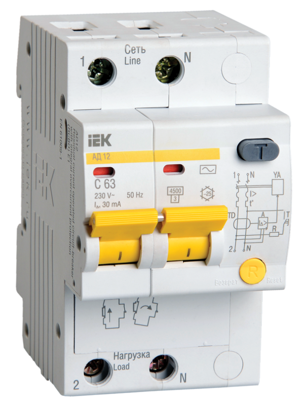 Выключатель автоматический дифференциального тока 2п C 16А 30мА тип AC 4.5кА АД-12 ИЭК MAD10-2-016-C