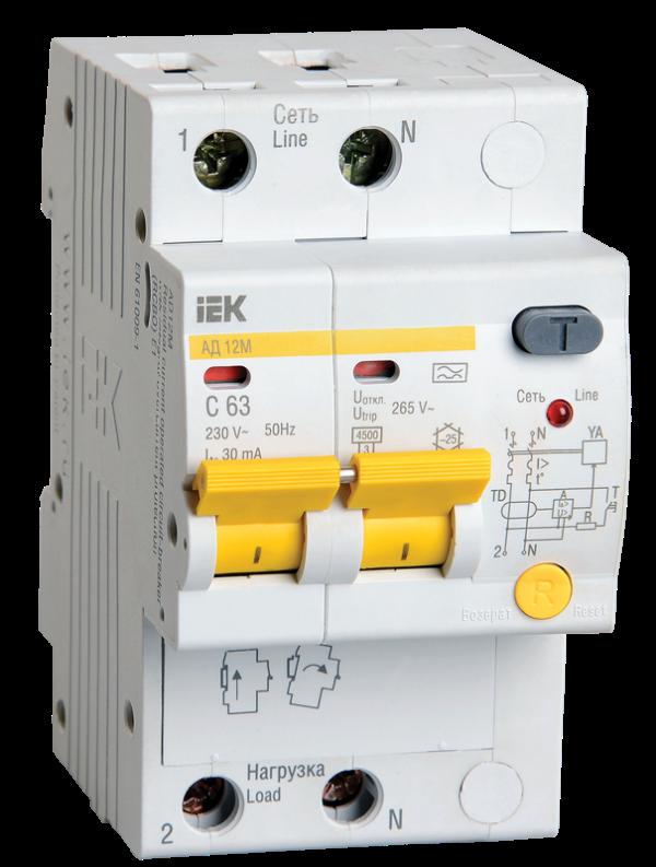 Выключатель автоматический дифференциального тока 2п C 16А 30мА тип A 4.5кА АД-12М ИЭК MAD12-2-016-C