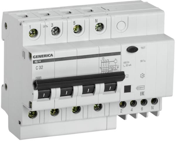 Выключатель автоматический дифференциального тока 4п 32А 30мА АД14 GENERICA ИЭК MAD15-4-032-C-030