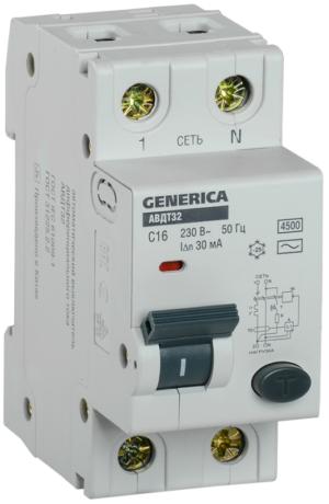 Выключатель автоматический диф. тока C16 30мА АВДТ 32 GENERICA ИЭК MAD25-5-016-C-30