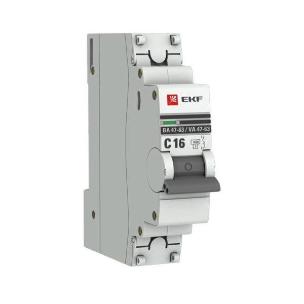 Выключатель автоматический модульный 1п C 16А 4.5кА ВА 47-63 PROxima EKF mcb4763-1-16C-pro