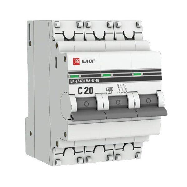 Выключатель автоматический модульный 3п C 20А 4.5кА ВА 47-63 PROxima EKF mcb4763-3-20C-pro