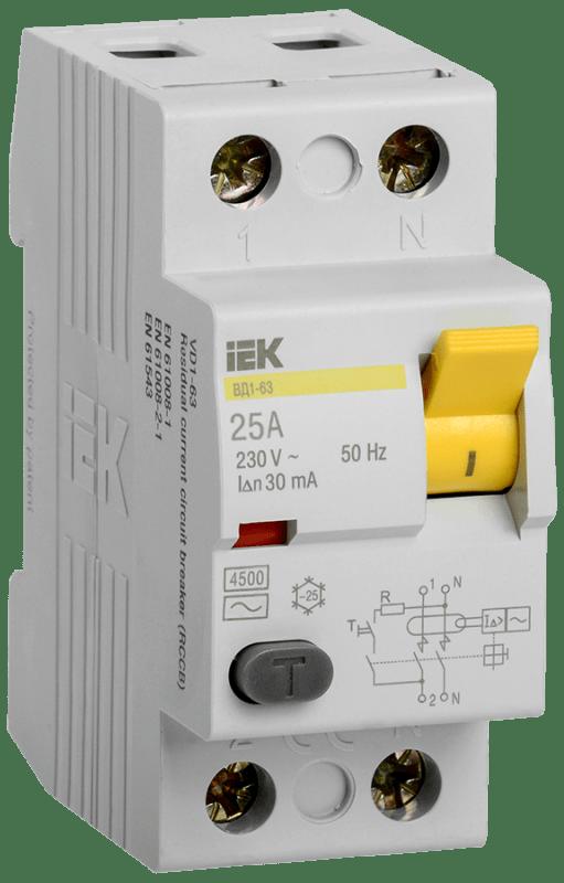 Выключатель дифференциального тока (УЗО) 2п 25А 30мА тип AC ВД1-63 ИЭК MDV10-2-025-030