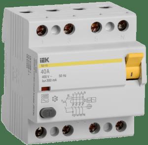Выключатель дифференциального тока (УЗО) 4п 40А 300мА тип AC ВД1-63 ИЭК MDV10-4-040-300