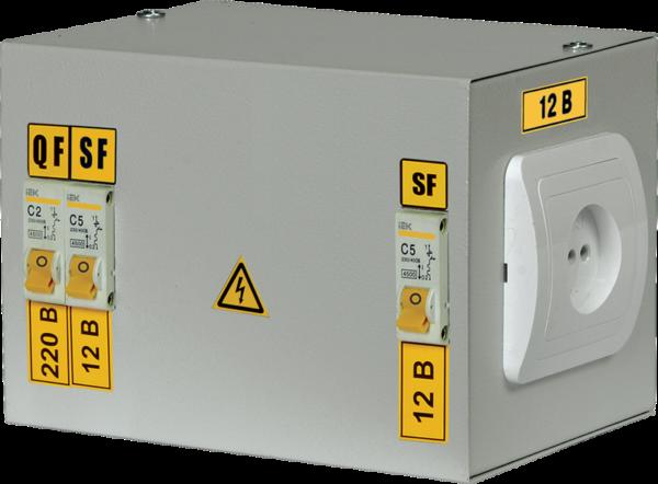 Ящик с понижающим трансформатором ЯТП 0.25 220/12В (2 авт. выкл.) ИЭК MTT12-012-0250