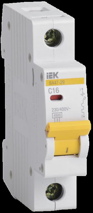 Выключатель автоматический модульный 1п C 16А 4.5кА ВА47-29 ИЭК MVA20-1-016-C
