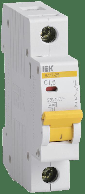 Выключатель автоматический модульный 1п C 1.6А 4.5кА ВА47-29 ИЭК MVA20-1-D16-C