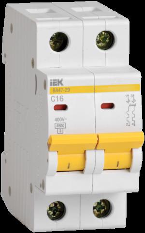 Выключатель автоматический модульный 2п C 1А 4.5кА ВА47-29 ИЭК MVA20-2-001-C