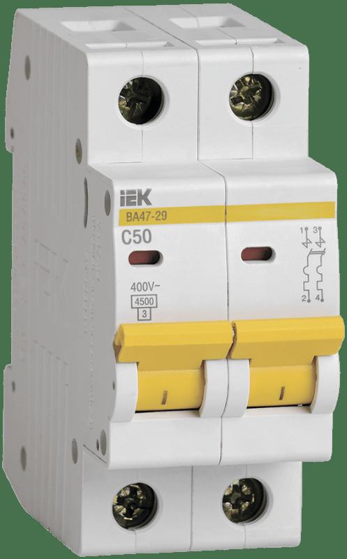Выключатель автоматический модульный 2п C 50А 4.5кА ВА47-29 ИЭК MVA20-2-050-C