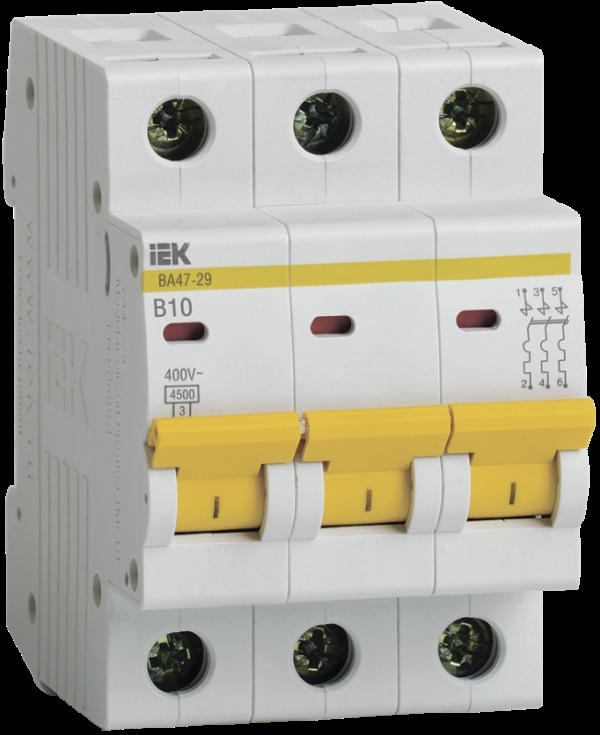 Выключатель автоматический модульный 3п B 10А 4.5кА ВА47-29 ИЭК MVA20-3-010-B