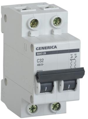 Выключатель автоматический модульный 2п C 32А 4.5кА ВА47-29 GENERICA ИЭК MVA25-2-032-C