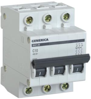 Выключатель автоматический модульный 3п C 10А 4.5кА ВА47-29 GENERICA ИЭК MVA25-3-010-C