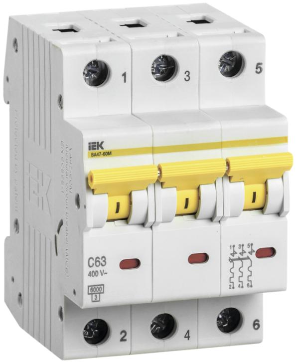 Выключатель автоматический модульный 3п C 32А 6кА ВА47-60M ИЭК MVA31-3-032-C