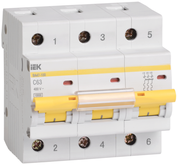 Выключатель автоматический модульный 3п C 63А 10кА ВА47-100 ИЭК MVA40-3-063-C