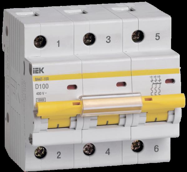 Выключатель автоматический модульный 3п D 100А 10кА ВА47-100 ИЭК MVA40-3-100-D