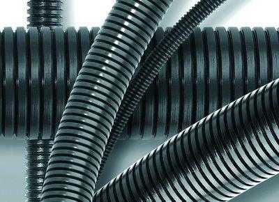 Труба гофрированная ПА 6 d12мм с протяж. темн. сер. (уп.50м) DKC PA611216F0