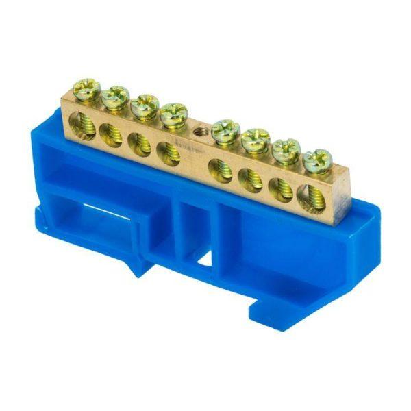 Шина нулевая N 6х9 8 отвер. латунь син. изолятор на DIN-рейку PROxima EKF sn0-63-08-d