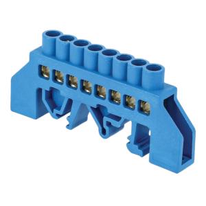 Шина нулевая N 6х9 8 отвер. латунь син. нейлоновый корпус комбинированный PROxima EKF sn0-63-08-dn