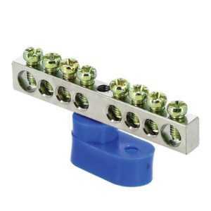 Шина нулевая N 6х9 8 отвер. никель син. угловой изолятор PROxima EKF sn1-63-08-1