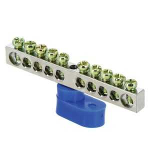 Шина нулевая N 6х9 10 отвер. никель син. угловой изолятор PROxima EKF sn1-63-10-1