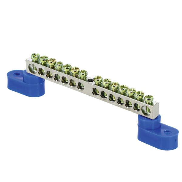 Шина нулевая N 6х9 14 отвер. никель 2 син. угловых изолятора PROxima EKF sn1-63-14-2
