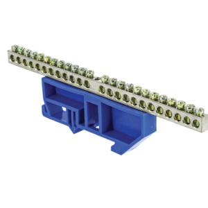 Шина нулевая N 6х9 24 отвер. никель син. изолятор на DIN-рейку PROxima EKF sn1-63-24-d