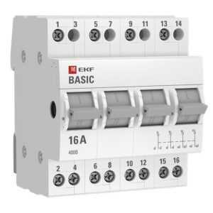 Переключатель трехпозиционный 4п 63А Basic EKF tps-4-63