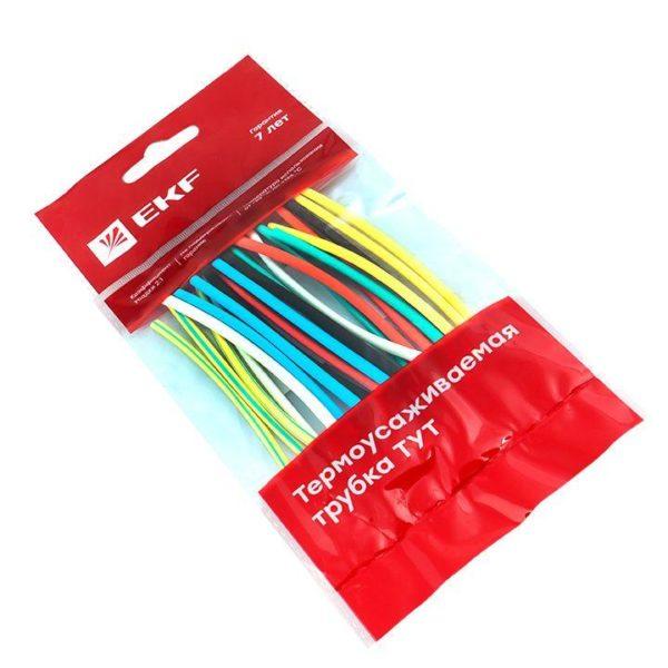 Набор трубок термоусадочных тонкостен. 4/2 (7 цветов по 3шт 100мм) EKF tut-n-4