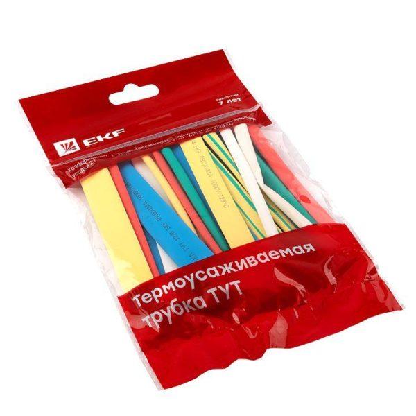 Набор трубок термоусадочных тонкостен. 6/3 (7 цветов по 3шт 100мм) EKF tut-n-6