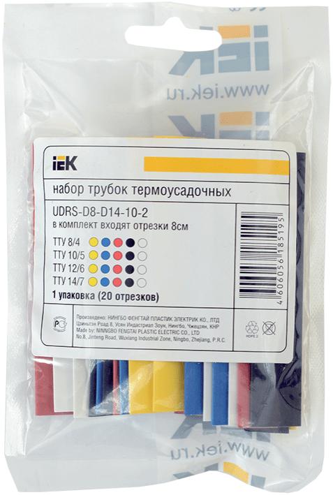 Набор трубок термоусадочных тонкостен. ТТУ 2/1; 4/2; 6/3; 8/4 (ЖЗ; С; К; Ч) 20х8см разноцвет. ИЭК UD