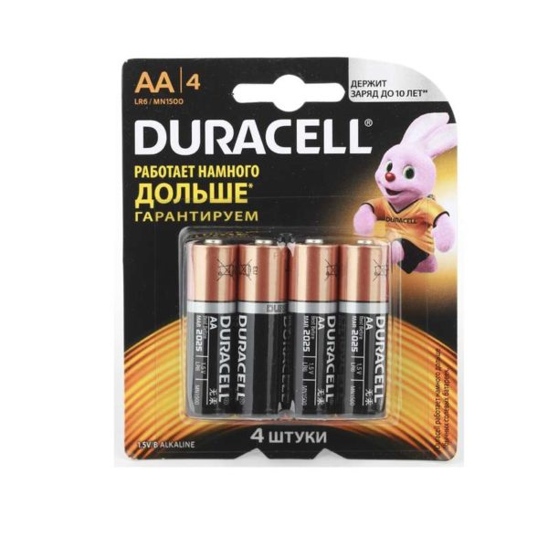 Элемент питания алкалиновый LR MN 1500/LR6 Basic BP-4 (блист.4шт) Duracell Б0014045/Б0026815