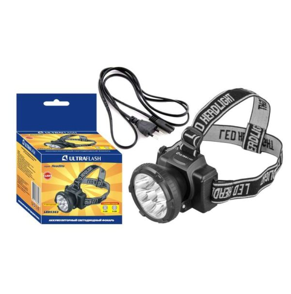 Фонарь налобный аккумуляторный LED 5363 (220В 9LED 2 режима; черн.) Ultraflash 11257